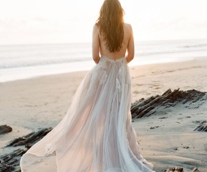 beach, wedding dress, and beauty image
