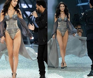 model, the weeknd, and bella hadid image