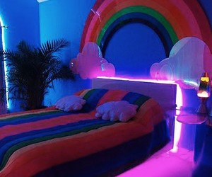 home, neon, and rainbow image