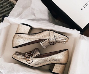 shoes, gold, and gucci image