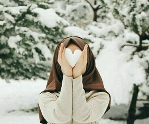 heart, hijab, and snow image