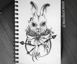 alice in wonderland, art, and clock image