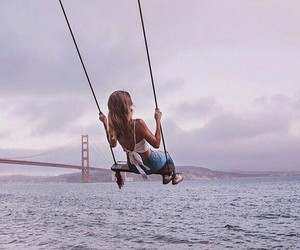 girl, river, and swing image