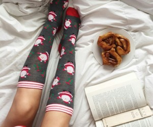 book, christmas, and socks image