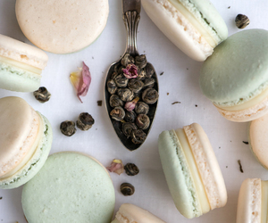 jasmine, tea, and ‎macarons image