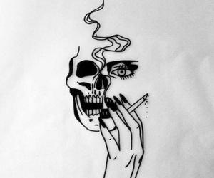 art, skull, and smoke image