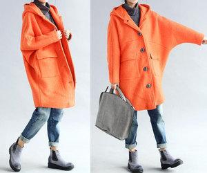black, orange, and wool coat image