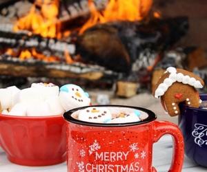 christmas, coffee, and fireplace image