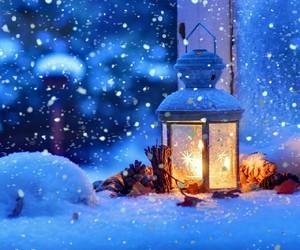 Christmas time, snow, and lights image