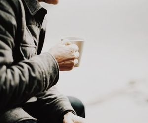 coffee, jacket, and man image