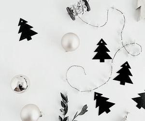 black and white, christmas, and decor image