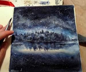art, blue, and lake image