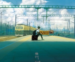 anime, train, and sky image