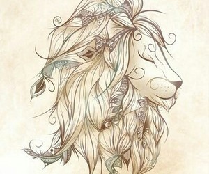 lion, art, and boho image