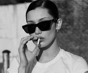 bella hadid, model, and black and white image