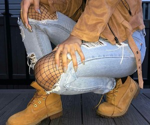 girl, outfit, and timberlands image