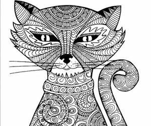 dibujo, gato, and mandalas image