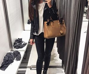 outfit, brunette, and clothes image