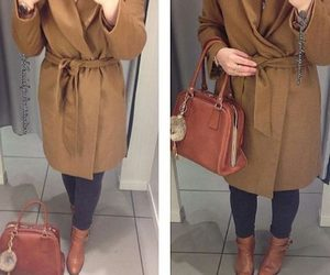 hijab, tan coat, and cozy winter outfit ideas image