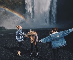 friends, rainbow, and waterfall image