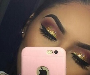 glitter, makeup, and brunette image