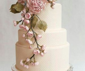 cake, flowers, and wedding image