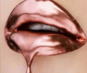 lips, lip art, and gold image