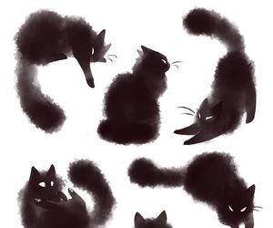 cat, black, and wallpaper image
