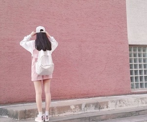 backpack, girl, and pink image