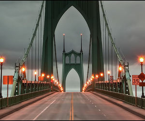 bridge, clouds, and lights image
