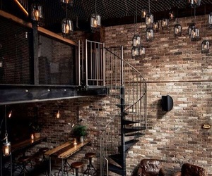 interior, brown, and loft image