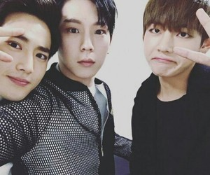 bts, exo, and suho image