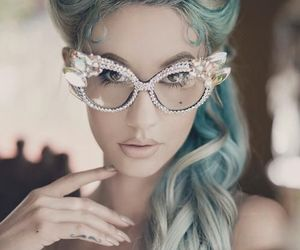 glasses, blue, and hair image