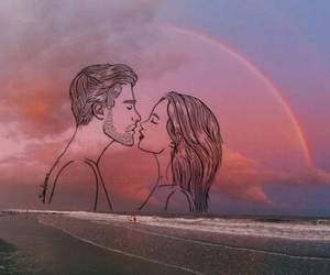 couple, drawing, and rainbow image