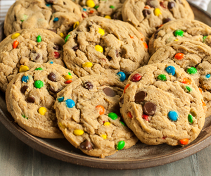 m&m, peanut butter, and Cookies image