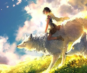 wolf, anime, and princess mononoke image