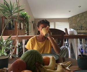 girl, yellow, and fruit image