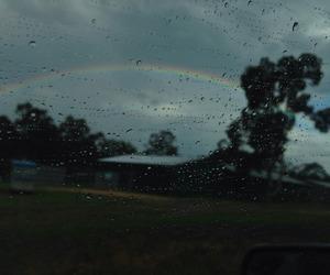rain, rainbow, and grunge image