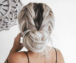 braids, bun, and grey image
