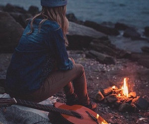 girl, guitar, and travel image