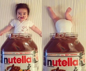 baby, nutella, and chocolate image