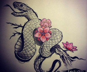 flower, snake, and tattoo image