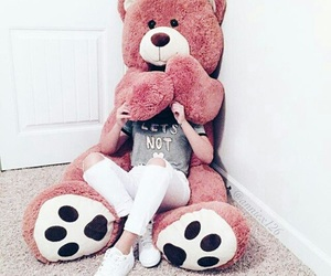 girl, bear, and pink image