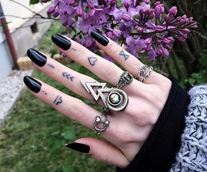 black, nails, and hand image