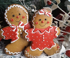 sweet, gingerbread men, and couple image