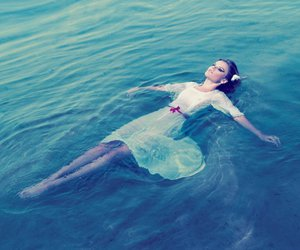 girl, lovely, and water image