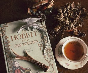 book, tea, and the hobbit image