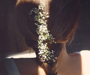 braids, flowers, and girl image