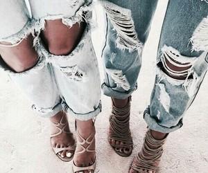 jeans, shoes, and déchiré image