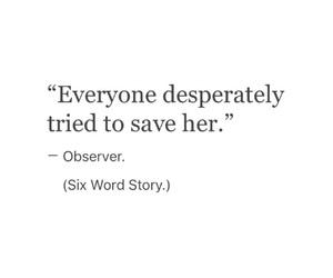 sad and six word story image